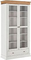 Шкаф с витриной ММЦ Бостон 21G (белый воск/антик) -
