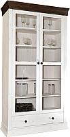 Шкаф с витриной ММЦ Бостон 21G (белый воск/колониал) -