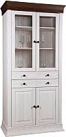Шкаф с витриной ММЦ Бостон А (белый воск/колониал) -