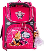 Школьный рюкзак Across ACR19-195-10 (малиновый/серый) -