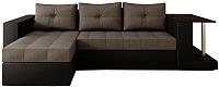 Диван угловой Настоящая мебель Константин со столиком экокожа/рогожка левый (черный/серый) -