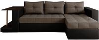 Диван угловой Настоящая мебель Константин со столиком экокожа/рогожка правый (черный/серый) -
