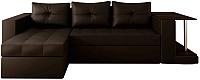 Диван угловой Настоящая мебель Константин со столиком экокожа левый (коричневый) -