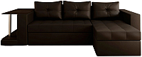 Диван угловой Настоящая мебель Константин со столиком экокожа правый (коричневый) -