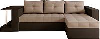 Диван угловой Настоящая мебель Константин со столиком экокожа/рогожка правый (черный/бежевый) -