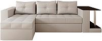 Диван угловой Настоящая мебель Константин со столиком экокожа левый (белый) -