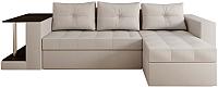 Диван угловой Настоящая мебель Константин со столиком экокожа правый (белый) -