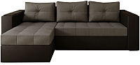 Диван угловой Настоящая мебель Константин с декором экокожа/рогожка левый (черный/серый) -