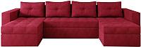 Диван П-образный Настоящая мебель Константин вельвет (красный) -