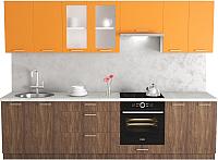 Готовая кухня Хоум Лайн Адель 2.9 (морское дерево винтаж/оранжевый) -
