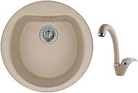 Мойка кухонная Granula GR-5101 + смеситель GR-4003 (песок) -
