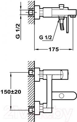 Смеситель Teka Aura Black 50121020N - технический чертеж