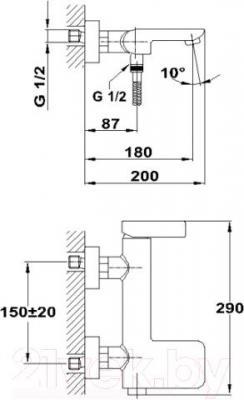 Смеситель Teka Formentera 621210200 - схематическое изображение