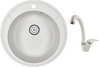 Мойка кухонная Granula GR-4802 + смеситель GR-4003 (белый/арктик) -
