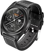 Умные часы NO.1 S9 (черный, кожаный ремешок) -