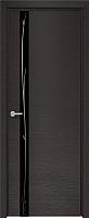 Дверь межкомнатная Юркас Deform H2 ДО 80x200 (дуб французский темный/Lacobel черный зеркало) -