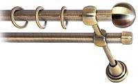 Карниз для штор Lm Decor Шар малый 124 2р гладкий (антик, 3м) -