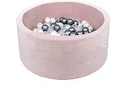 Сухой бассейн Misioo 90x40 200 шаров (светло-розовый, вельвет) -