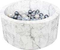 Сухой бассейн Misioo 90x40 200 шаров (белый мрамор, вельвет) -