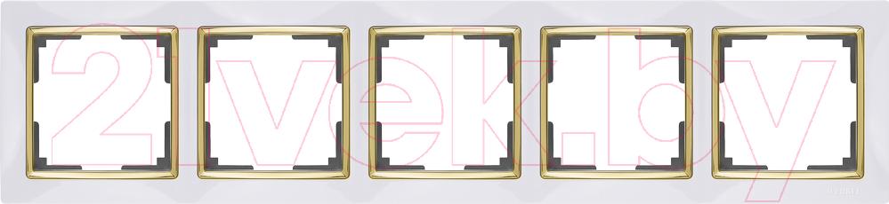 Купить Рамка для выключателя Werkel, Snabb WL03-Frame-05 / a035257 (белый/золото), Россия, пластик, Snabb (Werkel)