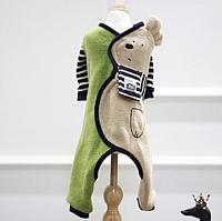 Комбинезон для животных Nicovaer С шарфиком / 01570 (M, зеленый) -