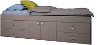Односпальная кровать Polini Kids Simple 3050 с нишами (серый) -