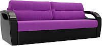 Диван Лига Диванов Форсайт / 100752 (микровельвет фиолетовый/экокожа черный) -