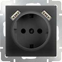 Розетка Werkel WL08-SKGS-USBx2-IP20 / a033477 (черный матовый) -