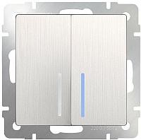 Выключатель Werkel WL13-SW-2G-2W-LED / a040898 (перламутровый рифленый) -