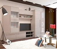 Стенка Горизонт Мебель Монако (МДФ, яень шимо светый/какао перламутр глянец) -