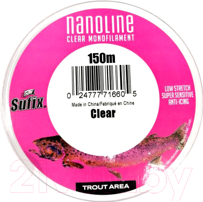 Купить Леска монофильная Sufix, Nanoline Trout 0.20мм / SNL20C150 (150м, прозрачный), Финляндия
