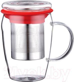 Чашка-заварник Peterhof PH-10039 (красный) - общий вид