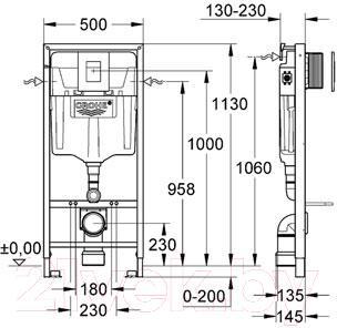 Инсталляция для унитаза GROHE Rapid SL 38772001 - габаритные размеры