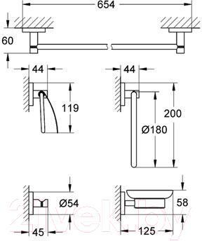 Набор аксессуаров для ванной GROHE Essentials 40344000 - схема