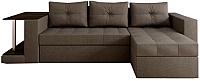 Диван угловой Настоящая мебель Константин со столиком рогожка правый (серый) -