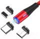 Кабель Topk AM60 USB MicroUSB Type-C Lightning (1м, красный) -