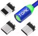 Кабель Topk AM37 USB MicroUSB Type-C Lightning (1м, синий) -