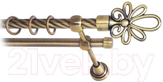 Купить Карниз для штор Lm Decor, Астра 170 2р витой (антик, 2.4м), Россия, металл