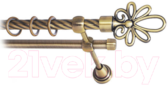 Купить Карниз для штор Lm Decor, Астра 170 2р витой (антик, 2.8м), Россия, металл