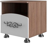 Прикроватная тумба SV-мебель Спальня Лагуна 7 Ж (ясень шимо темный/жемчуг) -