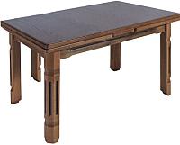 Обеденный стол ТехКомПро Рим ножка квадратная 65x90-130/170x75 (дуб/тон орех) -