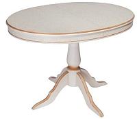 Обеденный стол ТехКомПро Эдельвейс М/Б 735x1050(1345)x750 (дуб/тон 1/золотая патина) -