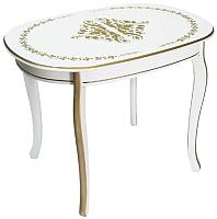 Обеденный стол ТехКомПро Азалия 1000x700 с рисунком №1 (бук/тон 1/золотая патина) -