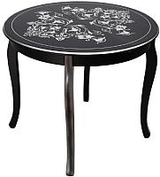 Обеденный стол ТехКомПро Азалия К900 С рисунком №3  (бук/тон черный/серебристая патина) -