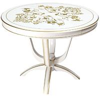 Обеденный стол ТехКомПро Камелия К с рисунком №3 (бук/тон 1/золотая патина) -