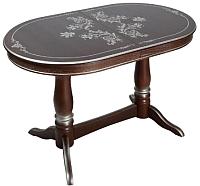 Обеденный стол ТехКомПро Комфорт МО С рисунком №2 тип Б (бук/тон орех/серебристая патина) -