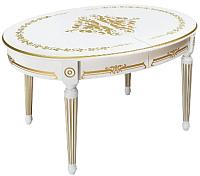 Обеденный стол ТехКомПро Лекс 1 с рисунком №1 (бук/тон 1/золотая патина) -