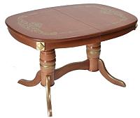Обеденный стол ТехКомПро Магнолия О с рисунком №4 (бук/тон 34/золотая патина) -