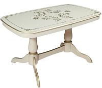 Обеденный стол ТехКомПро Комфорт с рисунком №2 тип А (бук/тон 3/золотая патина) -
