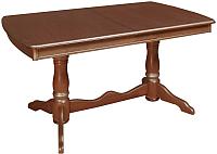 Обеденный стол ТехКомПро Нарцисс П (бук/тон орех/золотая патина) -
